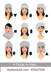Hats for different head shapes. Variation to choose a hat