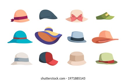 Hats. Fashioned head clothes summer caps and hats for woman garish vector illustrations collection isolated