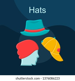 Hats flat concept vector icon. Mens headwear idea cartoon color illustrations set. Casual style outfit. Male accessories shop. Beanies, trilby and baseball caps. Isolated graphic design element
