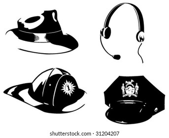 Hats for four professions