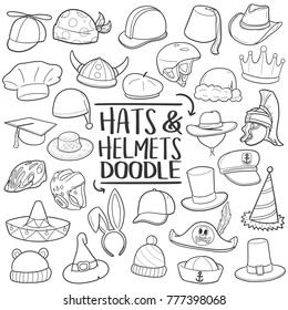Hats & Helmets Accessories Traditional Doodle Icons Sketch Hand Made Design Vector