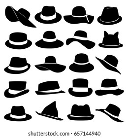 Hats illustration. Collection of black hats of different shapes isolated on white background