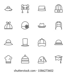 Hats line icons set. Headdress linear style symbols collection, outline signs pack. vector graphics. Set includes icons as summer panama, gentleman cylinder hat, baseball cap, cook, baby, graduation