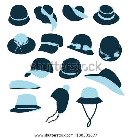 Hats Men Women Icons Set Different Stock Vector (Royalty Free ... 02817fffb46