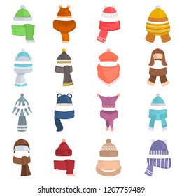 Hats and scarfs color vector icons set. Flat design