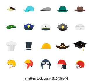 Hats Set Fashion for Men. Flat Design Style. Different Types for Professions, Business. Vector illustration of professional, job uniform cap icon collection. Chef, worker, cook, policeman, rider
