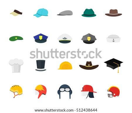 Hats Set Fashion for Men. Flat Design Style. Different Types for  Professions 9aa947c80cd7