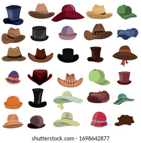 Hats set. Types of hats vector