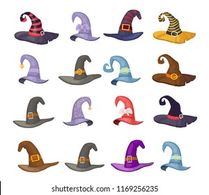 hats of sorceress on halloween, set, vector illustration