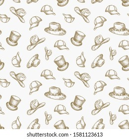 Hats Vector Seamless Background Pattern. Hand Drawn Cowboy Hat, Cylinder, Snapback Cap and Italian Hat Sketches. Head Wear Card, Wrapping, Wallpaper or Cover Template.