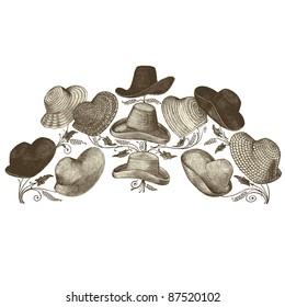 """Hats - Vintage engraved illustration - """"La mode illustrée"""" by Firmin-Didot et Cie in 1882 France"""