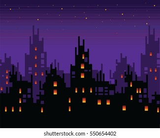 Haunted city at night, spooky pixel art town landscape, vector layer background illustration
