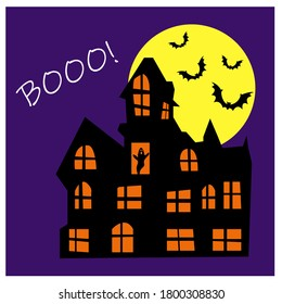 Haunted Haus vector with pumpkins and bats Booo! postcard on dark blue background for Halloween