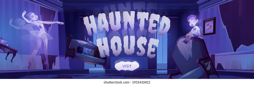 Haunted house banner with cartoon illustration of ghosts in old abandoned living room with broken furniture at night. Vector landing page of Halloween party or scary show with spirits