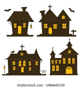 Haunted House Dark Silhoutte Vector