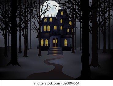 Haunted house in foggy forest in full moon. Spooky  scene. Vector illustration
