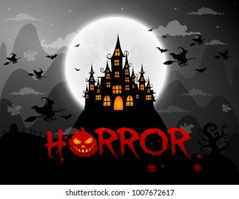 haunted house and full moon with ghost,horror night background.Vector illustration.