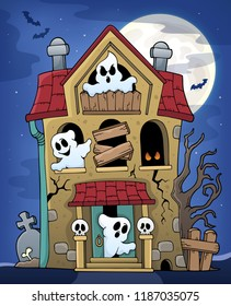 Haunted house with ghosts theme 2 - eps10 vector illustration.