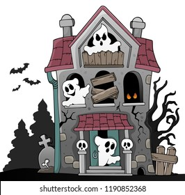 Haunted house with ghosts theme 5 - eps10 vector illustration.