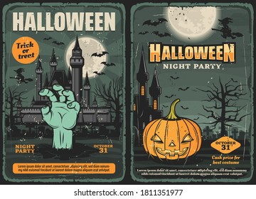 Haunted house with Halloween pumpkin, zombie hand, witch and bat, trick or treat night party vector invitations. Horror graveyard with moon, trees and gravestones, old castles and cemetery monsters