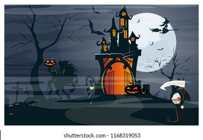 Haunted house, headless horseman, pumpkins at moon night vector illustration. Halloween night background. Holiday concept. For websites, wallpapers, banners or posters