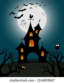 Haunted house illustration with moon and flying bats on background. Halloween theme. Vector