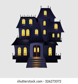 Haunted house on white background. Vector illustration