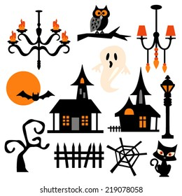Haunted house theme vector clip art. Chandelier, ghost, cat, full moon. Great for halloween projects.