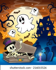 Haunted house topic image 1 - eps10 vector illustration.