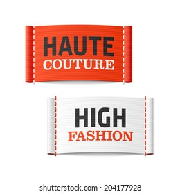 Haute Couture and High Fashion clothing labels. Vector.