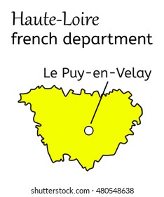 Haute-Loire french department map on white