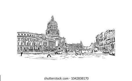 Havana is Cuba's capital city. Hand drawn sketch illustration in vector.