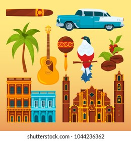 Havana cigar and others differents cultural objects and symbols of Cuba. Vector cuban national landmark, cigar and coffee, bird and palm tree illustration