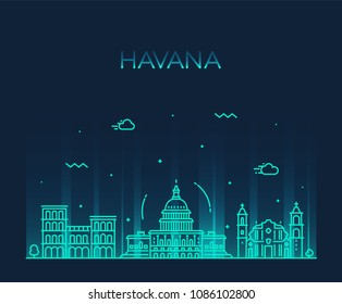 Havana city skyline, Cuba. Trendy vector illustration, linear style