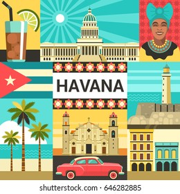 Havana creative poster concept. Vector illustration of Cuban culture and attractions, including retro car, portrait of Cuban Woman, Cathedral and National Capitol Building in trendy flat style.