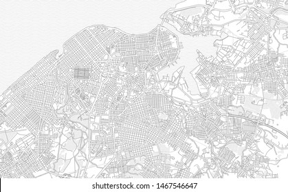Havana, Havana, Cuba, bright outlined vector map with bigger and minor roads and streets created for infographic backgrounds.