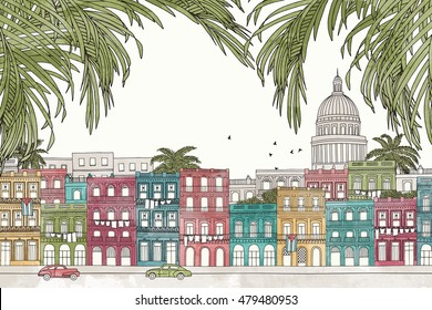 Havana, Cuba - hand drawn colorful illustration of the city with green palm tree branches