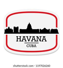 Havana Cuba Label Stamp Icon Skyline City Design Tourism