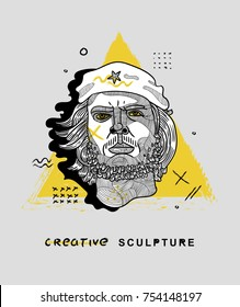 HAVANA, CUBA - November 13 2017: Ernesto Che Guevara - modern sculpture. Hand drawn  vector illustration