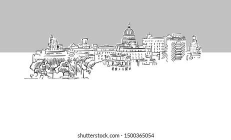 Havana, Cuba Panorama Skyline Vector Sketch. Hand Drawn Illustration on grey background.