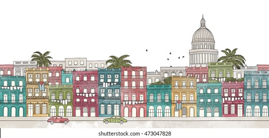 Havana, Cuba - seamless banner of the city's skyline, hand drawn and digitally colored ink illustration