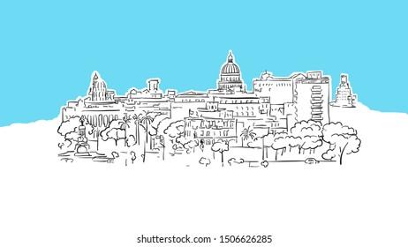 Havana Cuba Skyline Panorama Vector Sketch. Hand-drawn Illustration on blue background.
