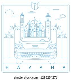 Havana, Cuba vector illustration and typography design