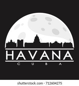Havana Full Moon Night Skyline Silhouette Design City Vector Art