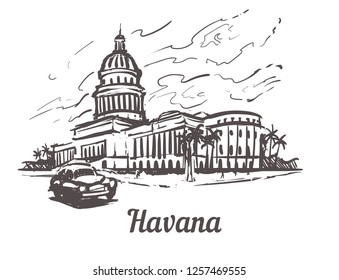 Havana hand drawn sketch vector illustration.Capitol of Havana, isolated on white background.