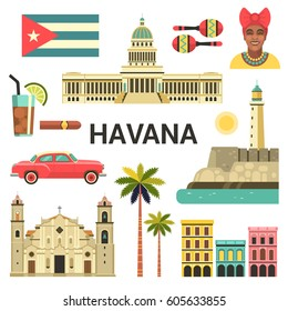 Havana poster. Vector icons collection of Cuban culture and attractions, including retro car, portrait of Cuban Woman, Cathedral and National Capitol Building in trendy flat style.