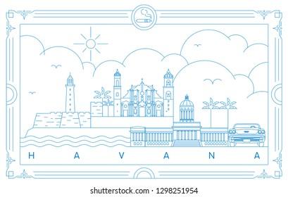 Havana skyline, Cuba vector illustration and typography design