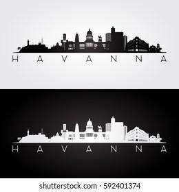 Havana skyline and landmarks silhouette, black and white design, vector illustration.