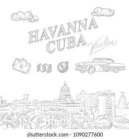 Havanna, Cuba, travel marketing cover, set of hand drawn a vector sketches