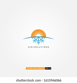 HAVC logo design, hot and cool logo, fire and water, AC modern logo design